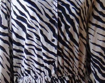 80s, vintage, black and white, zebra, dress, Casi
