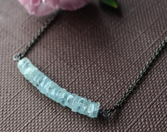 Aquamarine necklace, Aquamarine birthstone, Aquamarine stone necklace, copper gunmetal, March birthstone necklace