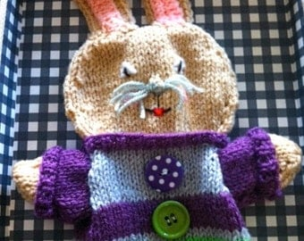 knitted Puppet bunny ,Hand Knitted puppet, Hand made bunny, hand puppet