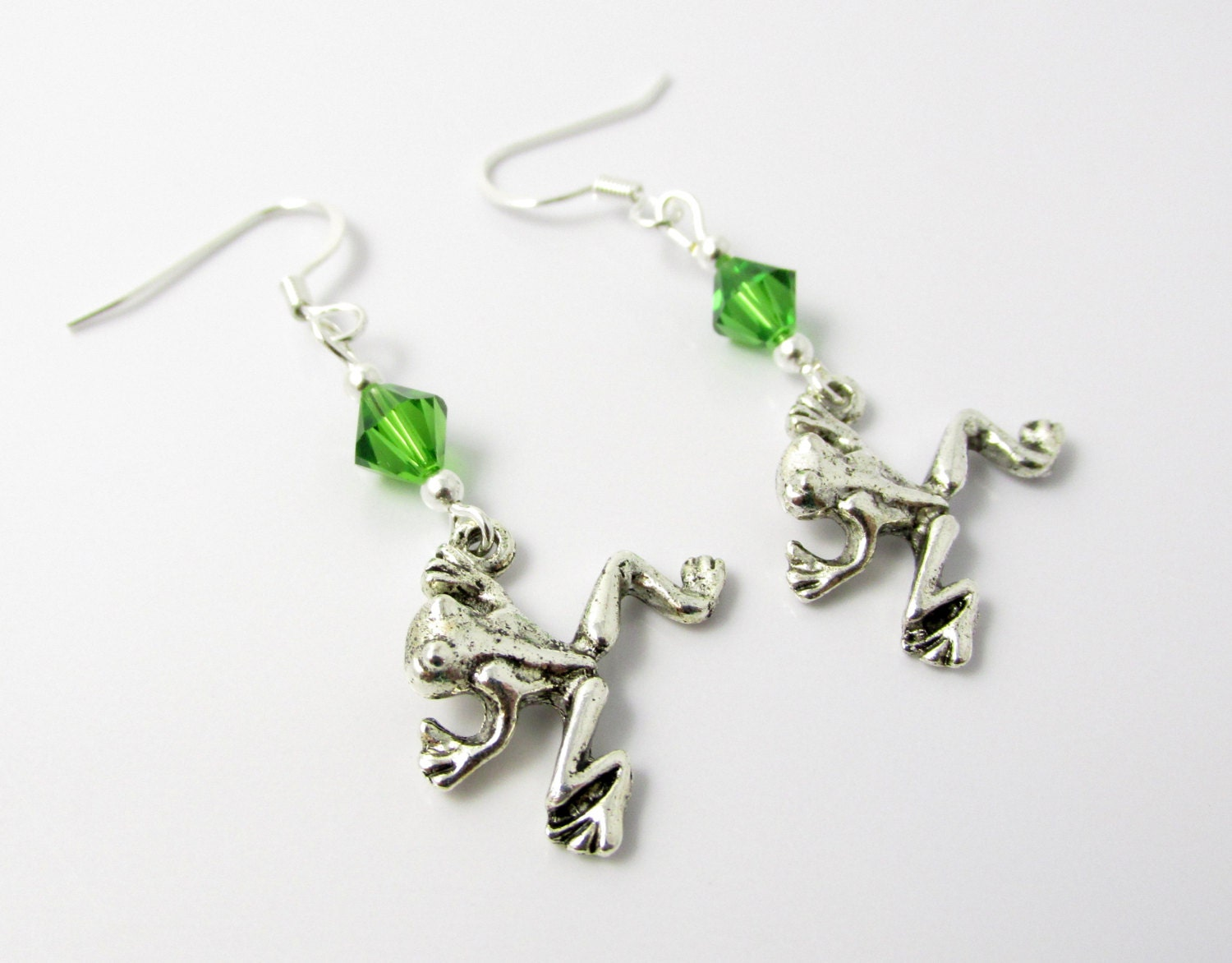 frog earrings frog jewelry green earrings animal by