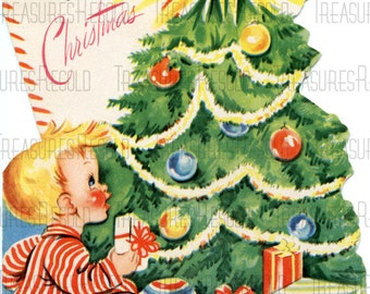 For You Boy By Christmas Tree Card #330 Digital Download