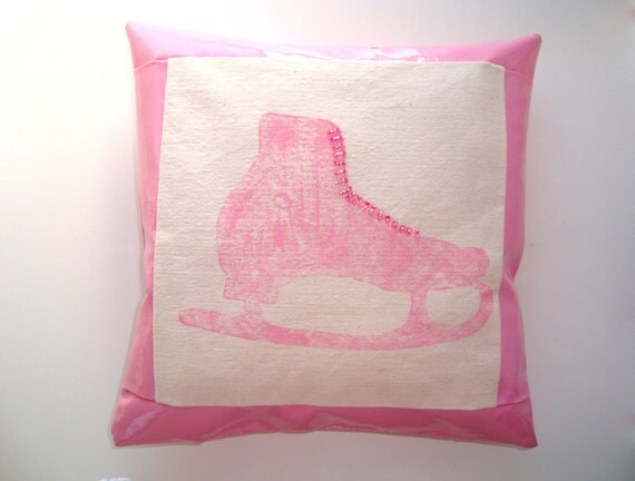 Figure skating pillow, skater pillow, Winter Olympics, small pillow, oil cloth, pink, 10 x 10""