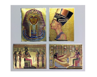 Egyptian Art Metal Etching Mini Prints Set of 4 Metallic / 90s Holographic Ancient Egypt Art Prints
