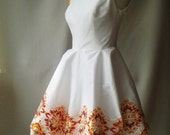 White silk, hand printed dress, Alice In Wonderland style - Made to order.