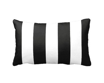 One 12x16 Lumbar Pillow Cover Throw Pillow Decorative Pillow Black Pillow Stripes Black Home Decor Sofa Pillow Toss Pillow Black and White