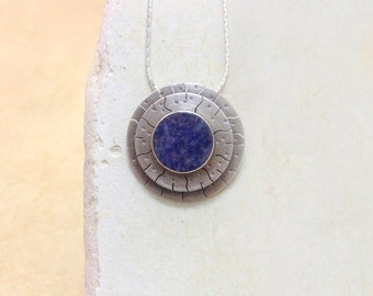 Sodalite pendant , Sterling silver pendant , handmade , Blue necklace ,  sodalite ,  gemstone , Blue sodalite , gift for her
