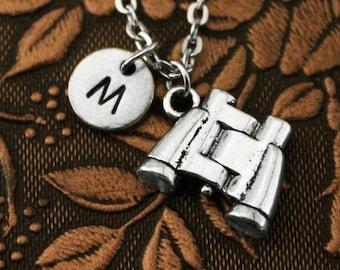 Binoculars Necklace, Initial Necklace Personalized Necklace, Engraved Necklace, Opera Glasses Necklace, Monogram Necklace, Charm Necklace