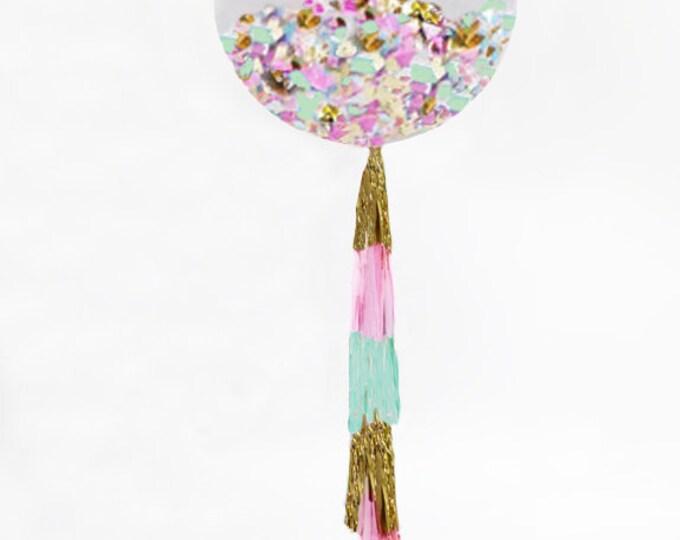 "Confetti Balloon, Giant Balloon with Tassel and Confetti Custom Colors, 36"" Confetti Balloon with Tassels"
