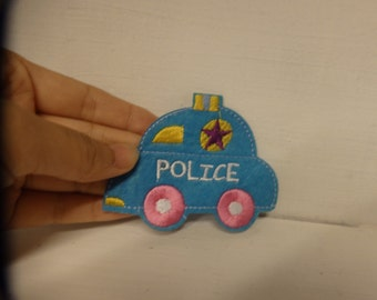 3 police car applique embroidery patch sew on iron on kids appique