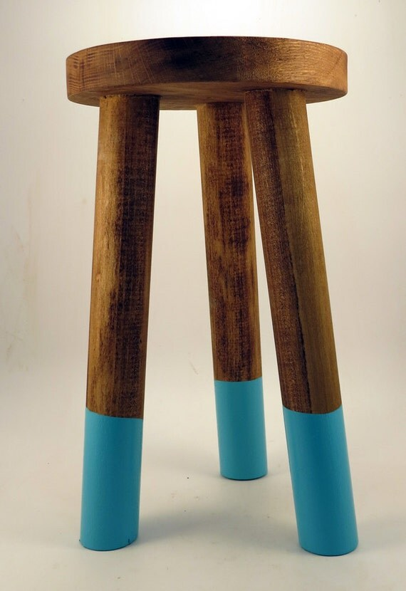 Hand Made WOODEN STOOL TABLE Legs Dipped By