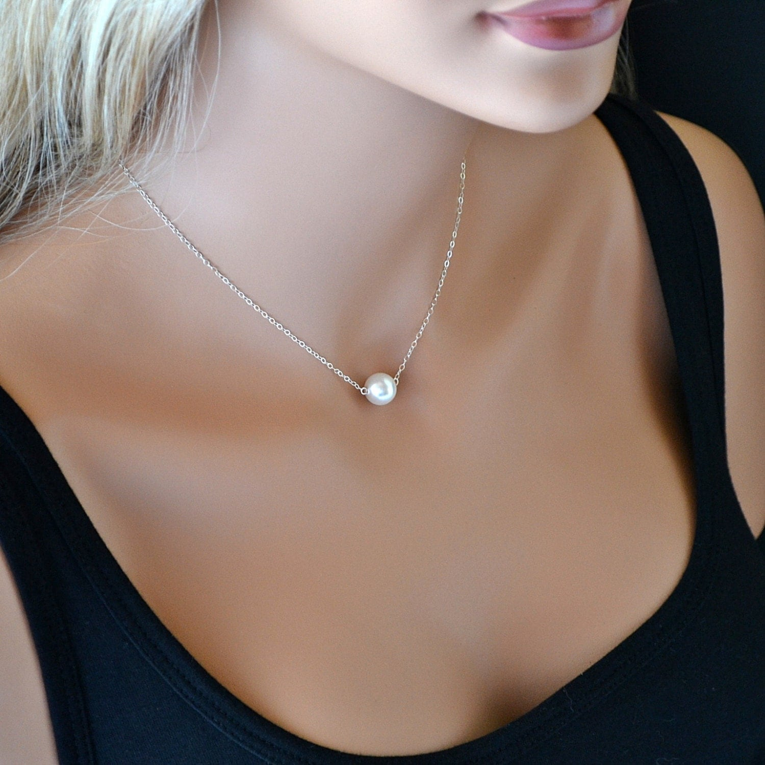 Single Pearl Necklace Bridesmaid Gift Single Pearl Necklace