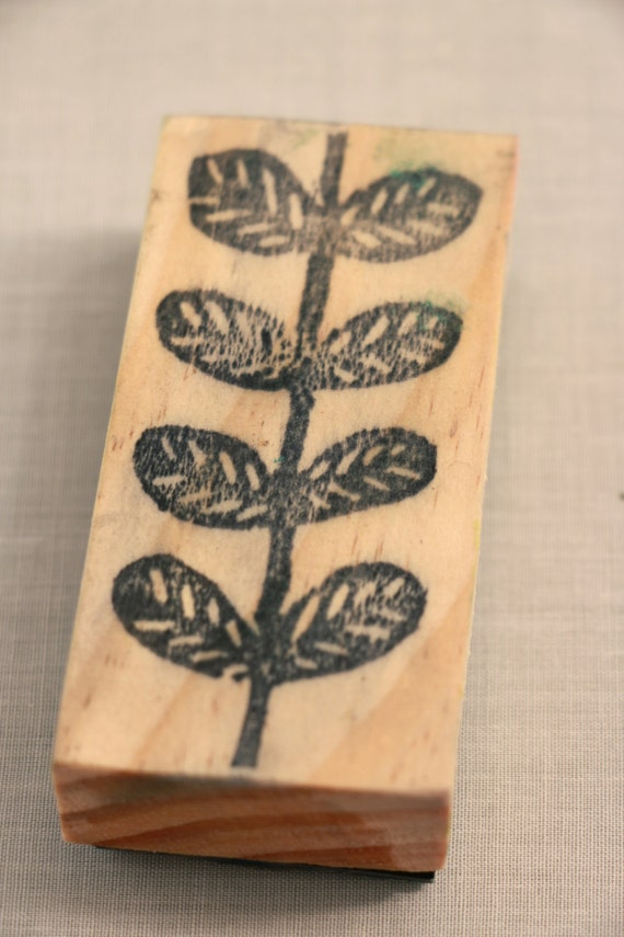 Leafy stem stamp hand carved linoleum by pricklypearartistry
