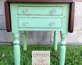 """SOLD - Antique Drop Leaf Side Table """"Mint Chocolate Chip"""""""