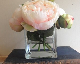 peonies, peach, white, or pink peonies,silk flower arrangement, flowers in acrylic, silk flowers, wedding flowers, gifts, mothers day