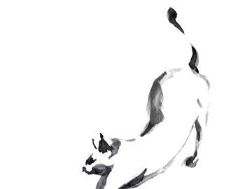 Cat Art Print, Minimalist Cat Painting Art Print, Black and White Cat Art