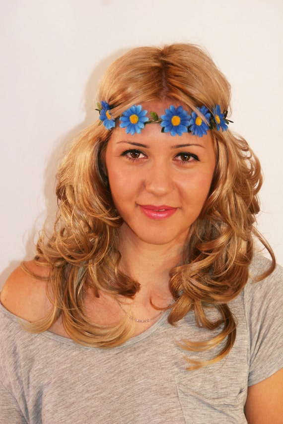 Blue Daisy Bohemian Flower Crown, Gifting, Present, Stocking Stuffer, Colorful, Boho, Artistic Design (CRW-101)