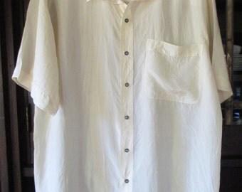 Vintage 1980s Washed Tissue Silk Ivory Shirt