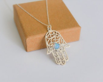 Opal hamsa necklace, Silver Hamsa necklace, Silver hand necklace, Delicate silver necklace, Silver hand blue opal necklace, Hand pendant