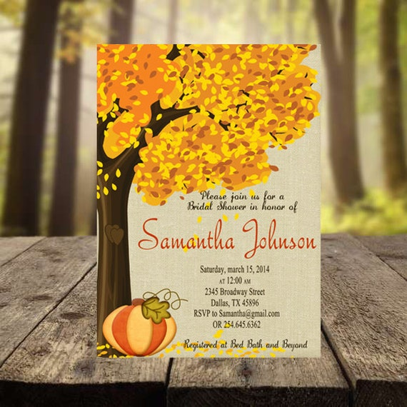 Fall wedding shower invitation pumpkin bridal by for Fall wedding invitations with pumpkins