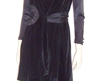 Rare La Belle Epoque Black Velvet and Satin Ensemble