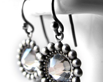 SALE - Clear Crystal Earrings, Crystal Silver Shade Earrings, Antiqued Silver, Vintage Style Bridesmaid Jewelry, Bridesmaid Earrings