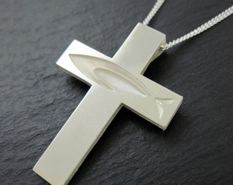 Ichthus Cross Necklace, Christian Fish Cross Pendant with Chain in Silver - Spiritus Jewelry Collection