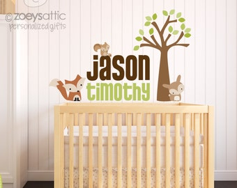 Woodland wall decals - fabric vinyl decal - choose any colors you like - squirrels foxes and rabbits oh my!