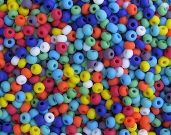 6/0 Matte Opaque Rainbow Mix Czech Glass Seed Beads 20 Grams (CS48)