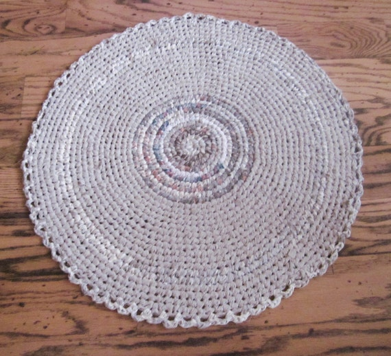 Crochet Rag Rug Shabby Chic Beige And Cream By RaggedRevival