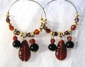 """Vintage Gold Tone Beaded Burgundy Hoop Earrings 3"""""""