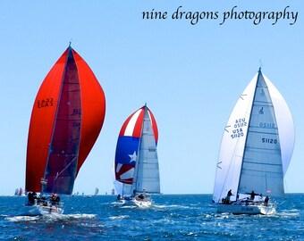 Nautical Decor, Sailboat Photography, Red White Blue Nautical Print, Red Sailboat Art, Coastal Decor Beach Art, Nautical Art, Sailing Art