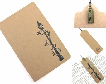 The Lion The Witch and The Wardrobe Narnia Lamp Post Moleskine Notebook and Bookmark with Charm