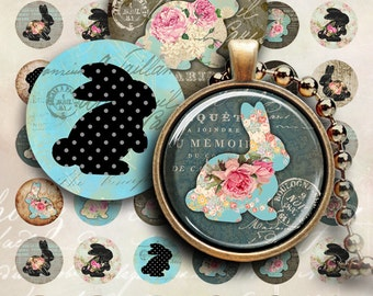 1 inch (25mm) and 1.5 inch images SHABBY BUNNIES Printable downloads Digital Collage Sheets for pendants, bottle caps, bezel trays Art Cult