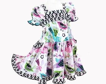 Modern Bird Colorful Cotton Toddler Dress Pink Purple Aqua Baby Dress Toddler Girl Party Dress Girl Toddler Gift 3m-4T Toddler Girl Clothes