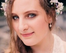 silk Flower Crown Bridal Hair accessories -Serenity- weddingHead wreath teal purple Hippie Boho headband daisies flower garland bohemian