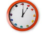 Paint Canvas Clock, 3D paint daubs globs - Color Options, CUSTOMIZABLE - art studio, nursery, playroom decor or artist painter gift