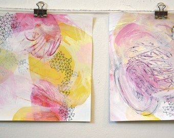 contemporary art: l'energie diptych. two original ab ex paintings on paper