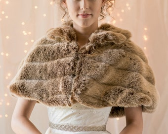Frosted light brown grooved Faux Fur Capelet with matching regular size hand muff for a Bride's Winter Wedding cape coat