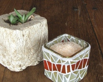 Mosaic Glass Spice Container or Candle Holder  - Beige and Rust Glass Mosaic - Home Decor