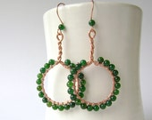 Green Agate Earrings, Copper, Hammered, Wire Wrapped, Moss Green, Fern, Forest Green, Agate Earrings, 745