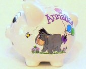 Eeyore Personalized Piggy Bank With Purple and Lavender