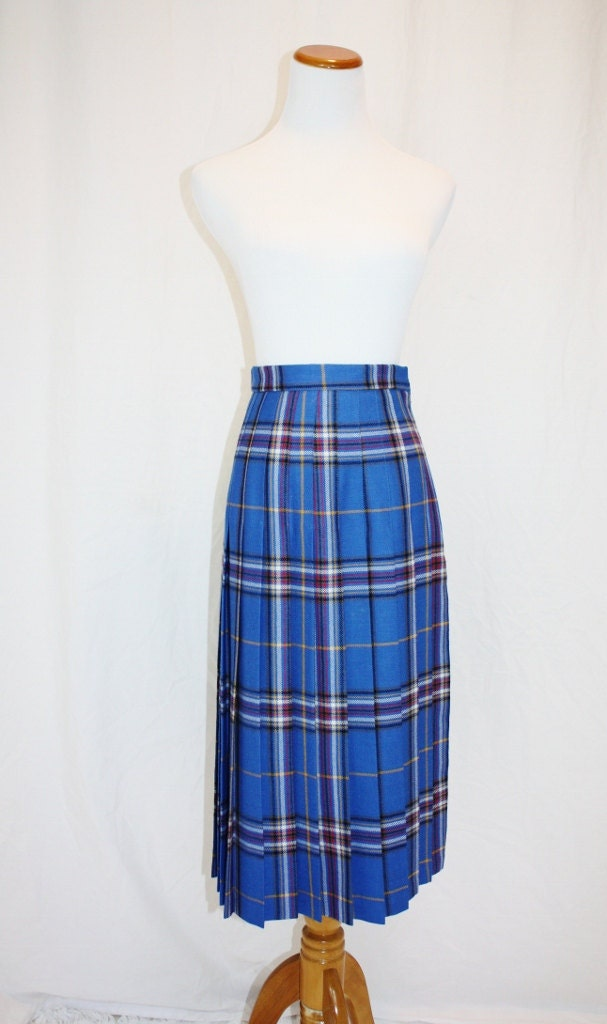 1980 s royal blue plaid skirt wool pleated preppy by retromomo