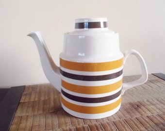 Vintage Staffordshire Potteries White Orange and Brown Striped Teapot