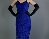 Vintage 80s does 40s Royal Blue Sequined Torch Singer Burlesque Cocktail Party Dress