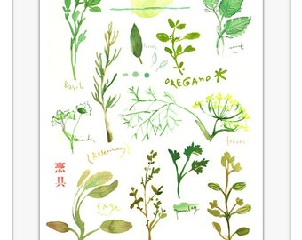 Large Herb print, Watercolor herb painting, Botanical poster, Green kitchen decor, Kitchen print, Herb poster, Kitchen wall art, Garden art