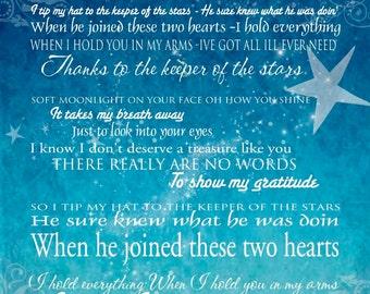Keeper of the Stars - Tracy Byrd Lyrics Love Ballad - 16x20 Gallery Wrapped Canvas Word ARt Print