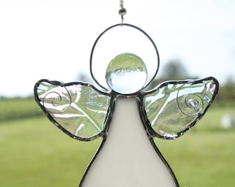 First Holy Communion Gift Stained Glass White Angel Suncatcher Window Decor Guardian Angel
