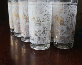 Colony Gold Midcentury Barware Frosted - 8 glasses