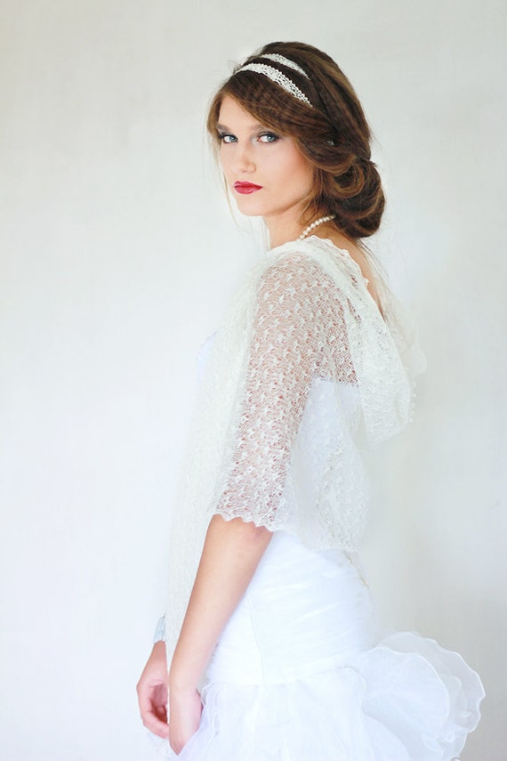 White Bridal Linen Scarf Lace Shawl Knitted Sheer Wrap Wedding Lace Stole Lace Wings