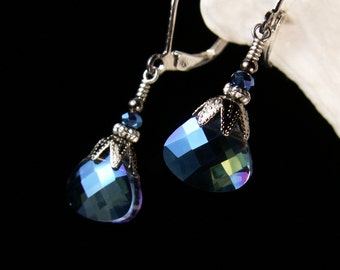 Peacock Blue Green Victorian Earrings, Metallic Blue Briolette Steampunk Edwardian Bridal Drops, Antiqued Silver, Titanic Temptations 13022